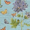 Bookshelf Botanical Flowers/Butterflies Blue