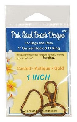 1 Swivel Hook and D Rings Antique Gold