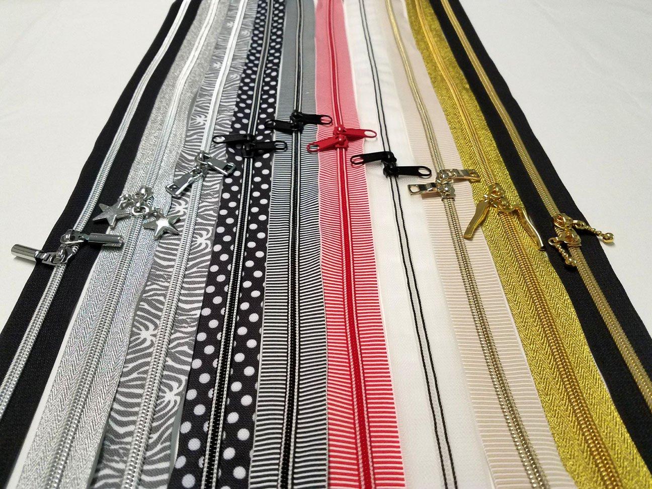 20 Closed Bottom Zipper - Tan/White Stripe