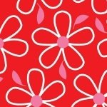 Quilt Camp Large Flowers Red