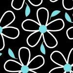 Quilt Camp Large Flowers Black