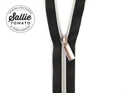 Zippers By The Yard Black Tape Silver Teeth #5