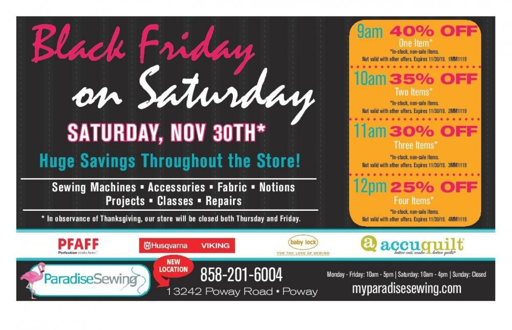 Black Friday on Saturday!
