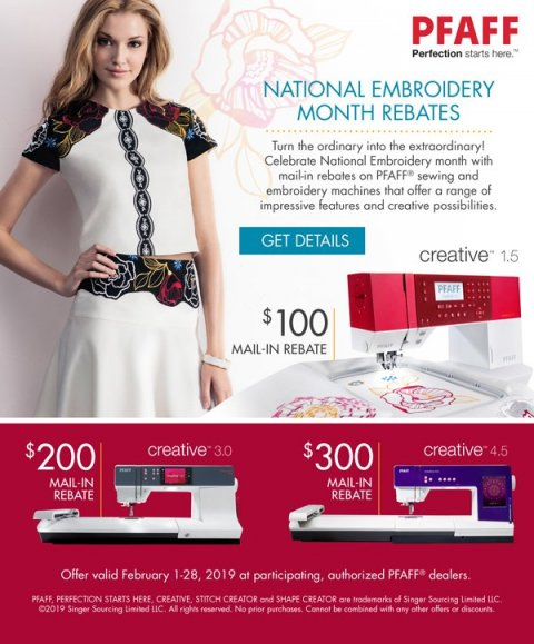 National Embroidery Month Rebates