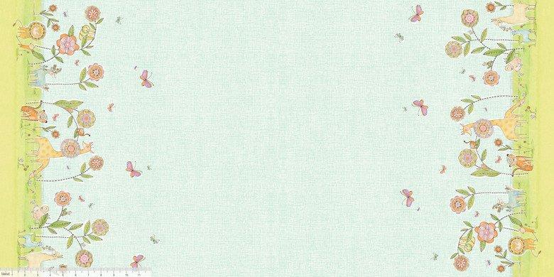Hello...Big World by Cori Dantini - Delightful Days Double Border Blue - actual size 22 x 44 112.103.11.2