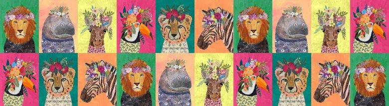 129.102.01.1 Jungle Wild Flowers Multi Panel