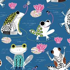 QT Fabrics Hop to it Frogs 27268-N Navy