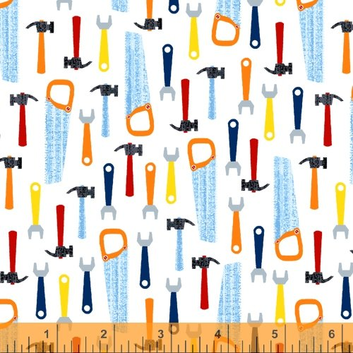 Work Zone by Whistler Studios for Windham Fabrics Tools White 52267-1
