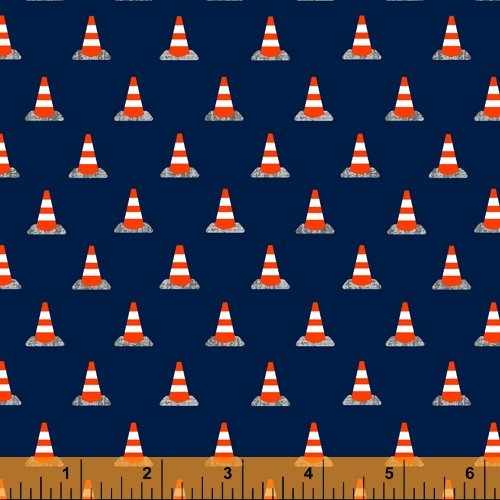 Work Zone by Whistler Studios for Windham Fabrics Traffic Cones Navy 52268-2