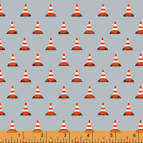 Work Zone by Whistler Studios for Windham Fabrics Traffic Cones Light Blue 52268-5