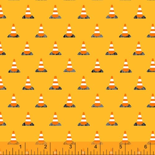 Work Zone by Whistler Studios for Windham Fabrics Traffic Cones Yellow 52268-6