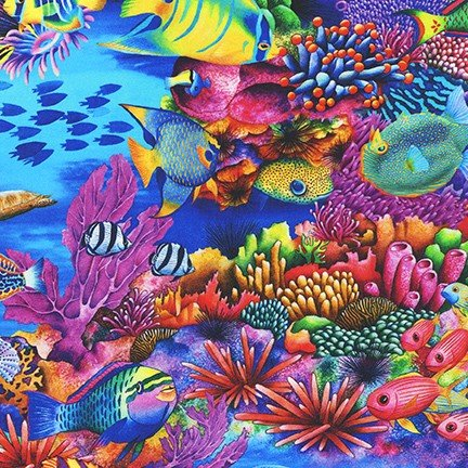 Coral Canyon by Carolyn Steel for Robert Kaufman Fabrics AQDC-19903-50 Lime