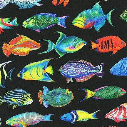 Coral Canyon by Carolyn Steel for Robert Kaufman Fabrics AQDC-19904-2 Black
