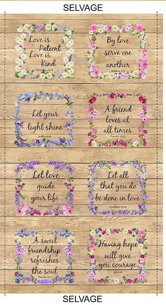 Timeless Treasures Let Your Light Shine Floral Proverbs on Wood Panel PANEL-C7565