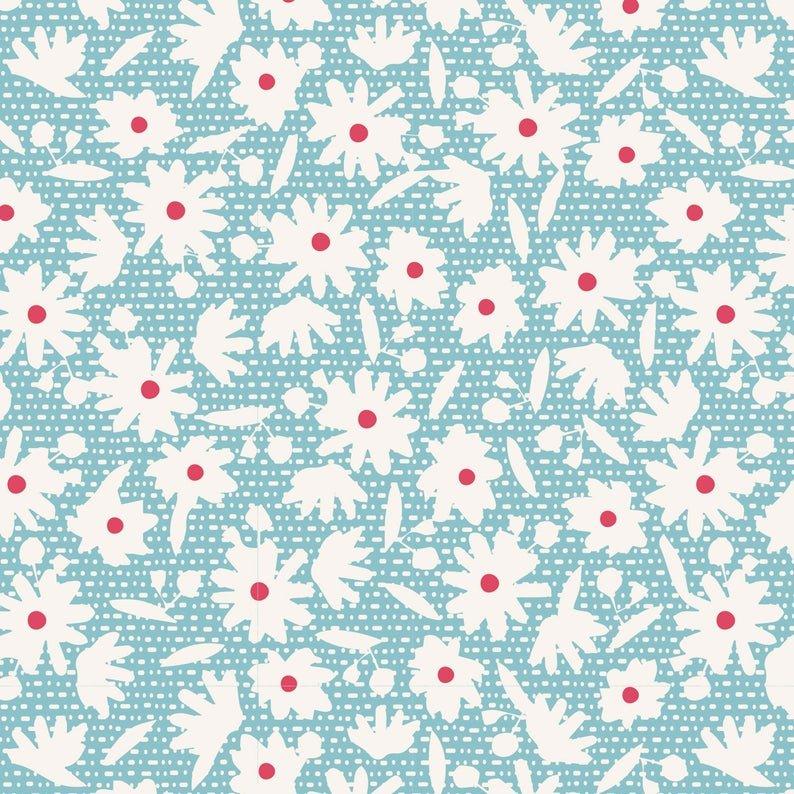 Tilda Bon Voyage Paperflower Teal 100257-V11