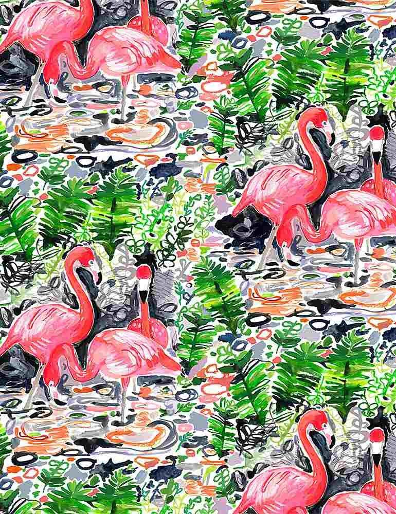Paradise Found by Dear Stella Fabric Flamingoes Stella-DJL1776 Multi
