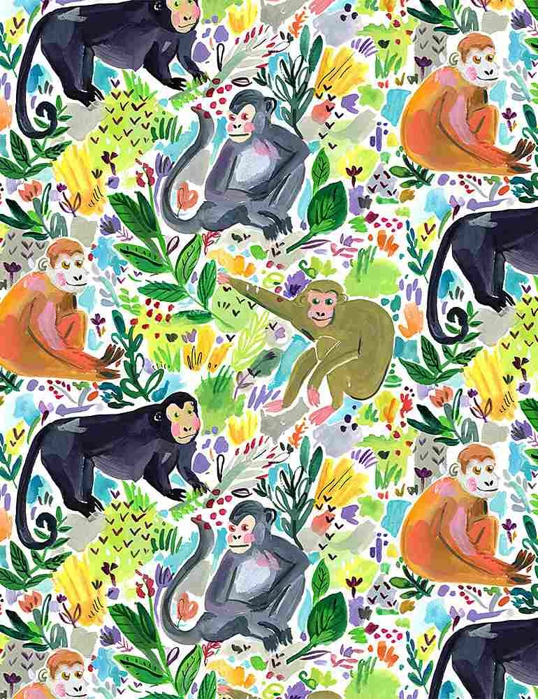 Paradise Found by Dear Stella Fabric Monkey Fun Stella-DJL1778 Multi