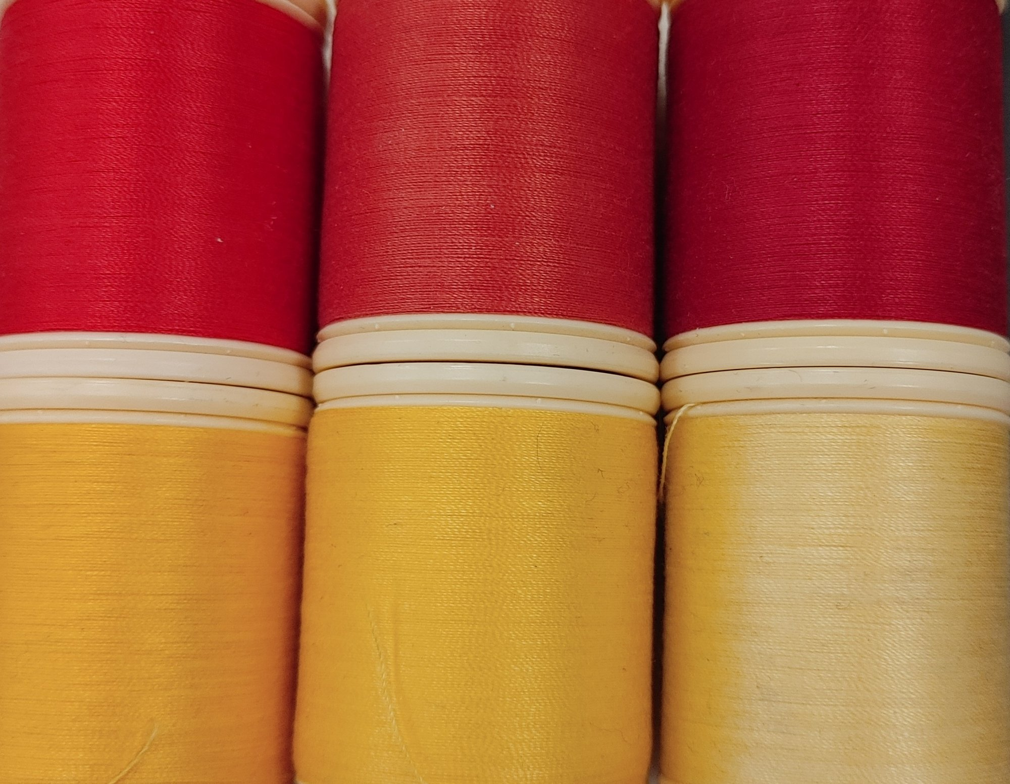 DMC Red and Yellow collection 6 spools 50 wt cotton