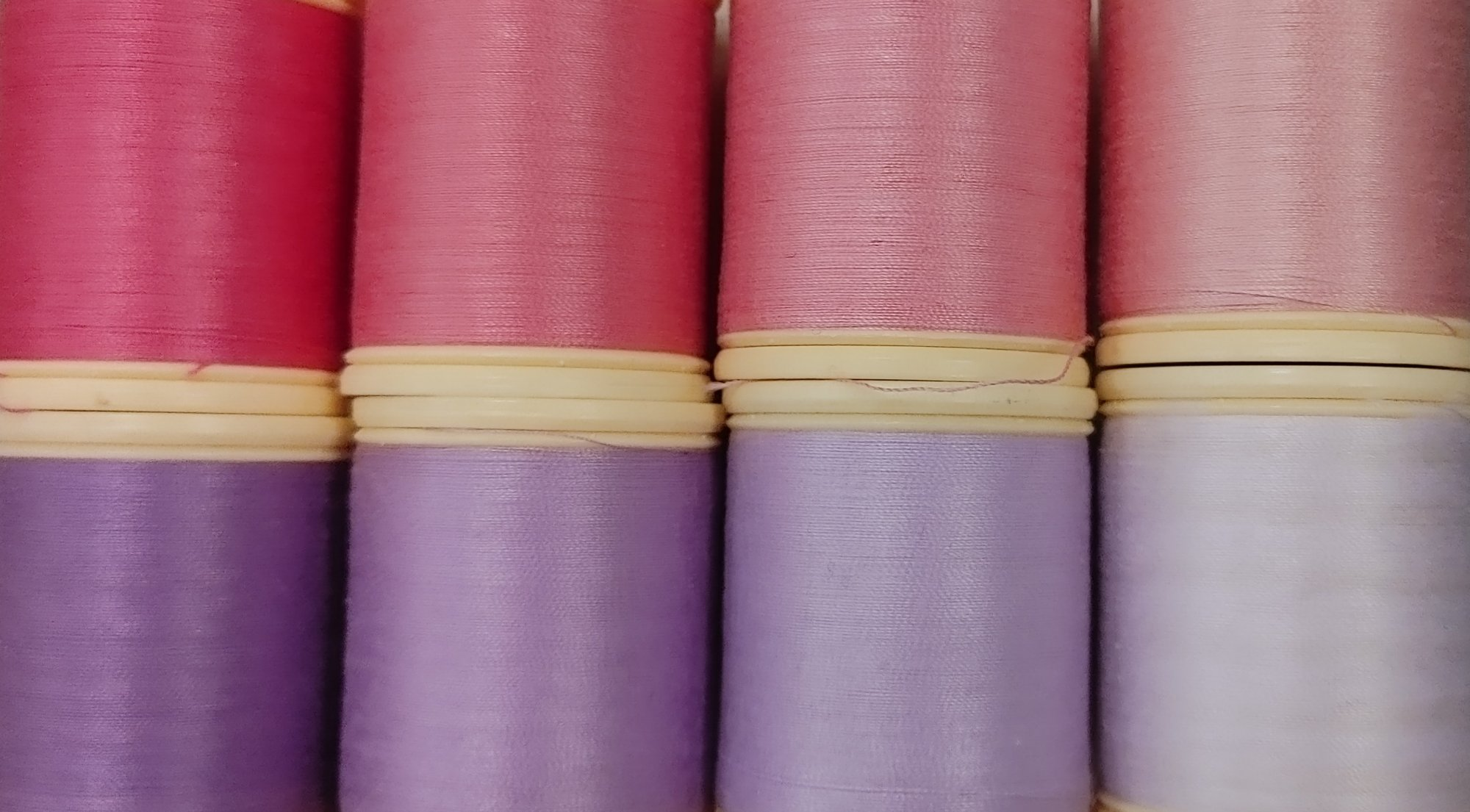 DMC Pinks and purples 8 spool collection of 50 wt cotton thread