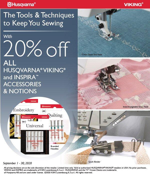 HUsqvarna Viking 20% off accessories