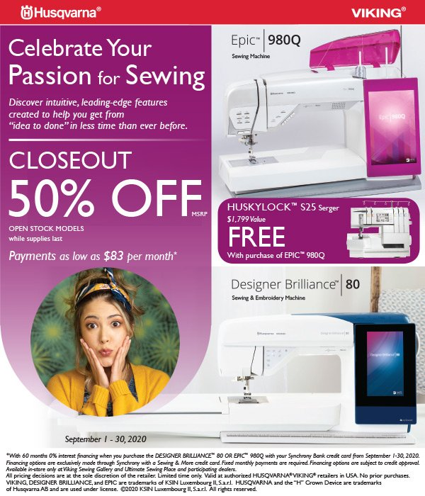Epic 980Q and free serger
