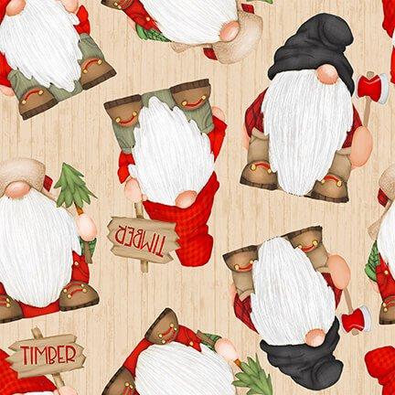 9274-48 Gnomes on Woodgrain Beige