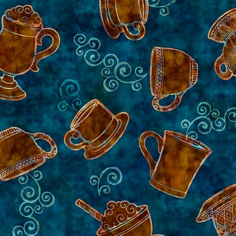 27074Q Tossed Coffee Cups - Teal