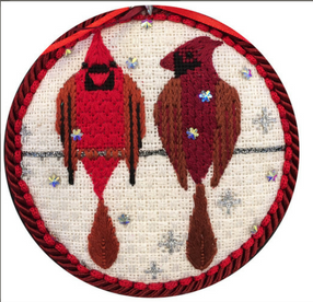 Scott Partridge Silly Little Birds Club ~ Two Cardinals ~ Vallerie Needlepoint Gallery