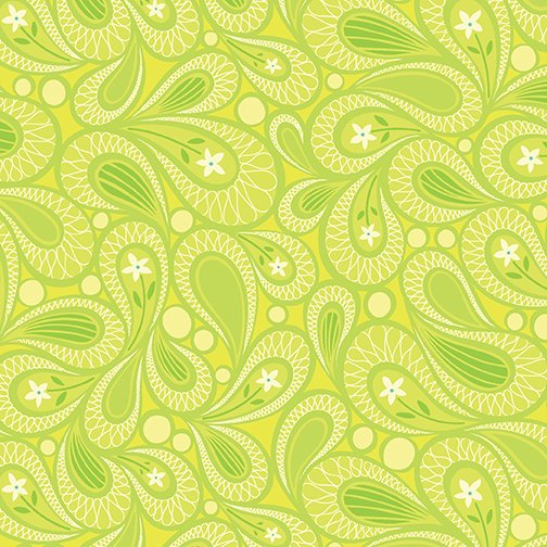 Benartex Free Motion Fantasy, Paisley Lime, 05445-42