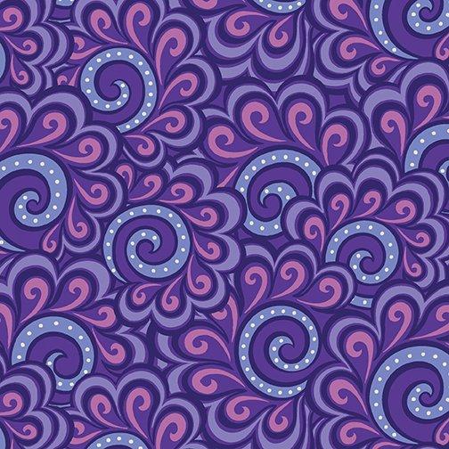 Benartex Free Motion Fantasy, Swirl Feather Purple, 05446-60