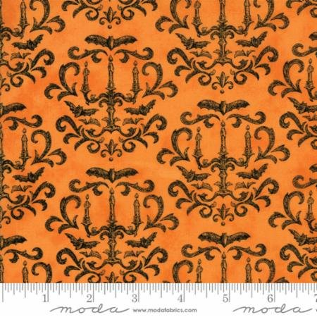 Eerily Elegant Vintage Pumpkin Orange Damask 19812 13 by Deb Strain for Moda