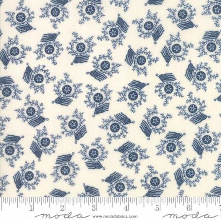 Liberty Gatherings Tallow Blue Flags 1204 23 by Primitive Gatherings for Moda