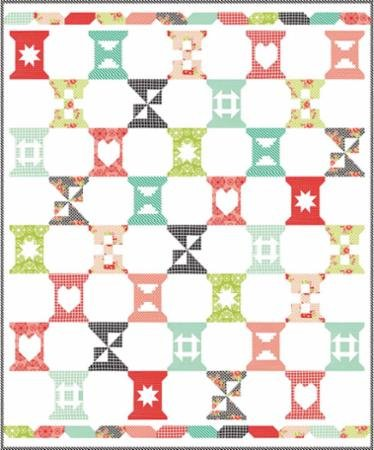 Spool Sampler Boxed Quilt Kit with Handmade Fabric Collection designed by Bonnie Olaveson of Cotton Way