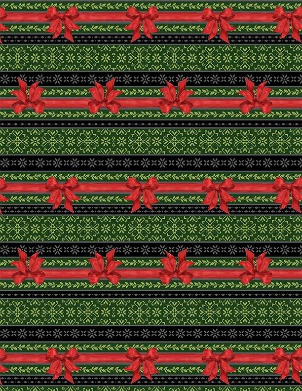 Festive Forest by Anne Rowan Ticking Stripe Green