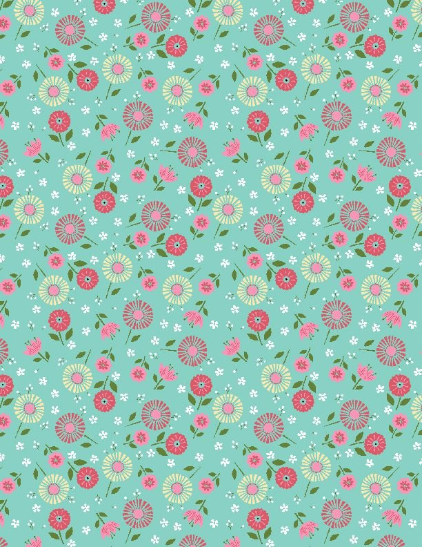 Adventure Time by Anne Rowan Floral Toss Teal