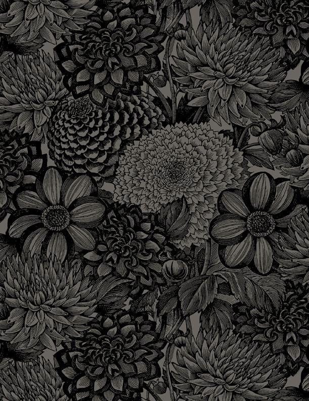 Essentials Floral Toile 108 Wide Black
