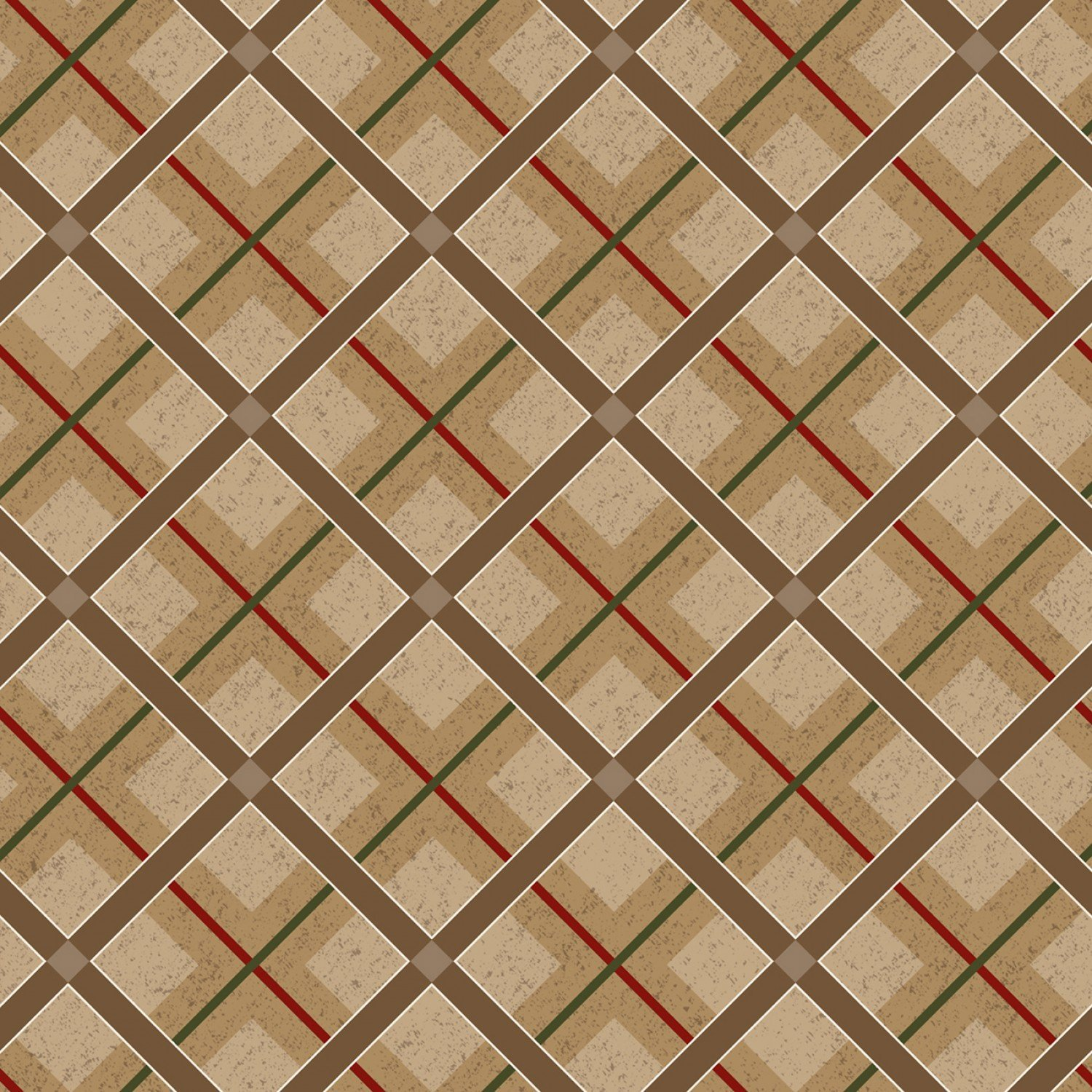 Brown Diagonal Plaid of Woodland Haven Flannel by Jan Shade Beach F1740-33