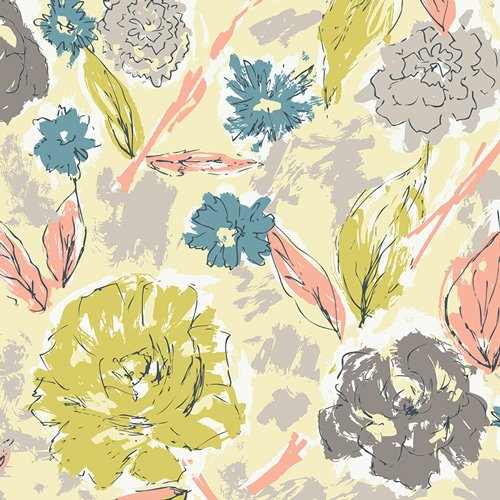 Paper Flowers Aurora Knit for Art Gallery Fabrics 95% Cotton 5% Spandex 58-60