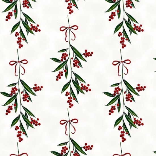 Christmas Winter Blooms Mistletoe Stripe Natural Silver Metallic Accent R7674-20S