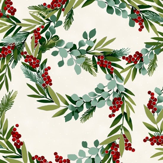 Christmas Winter Blooms Wreaths Natural Silver Metallic Accent R7675-20S