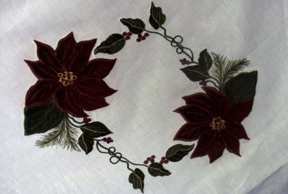 Applique Poinsettia & Leaves