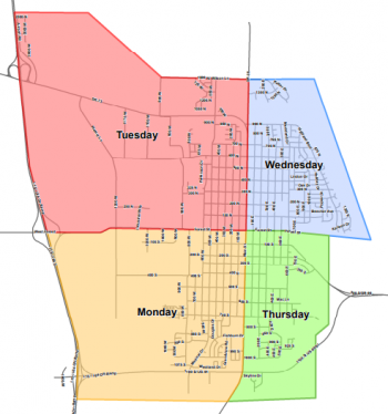 leaf collection schedule map; on Mondays, the area west of Main and south of Forest Street will be serviced; on Tuesdays, the area west of Main and north of Forest Street will be serviced; on Wednesdays, the area east of Main and north of Forest Street will be serviced; on Thursdays, the area east of Main and south of Forest Street will be serviced.