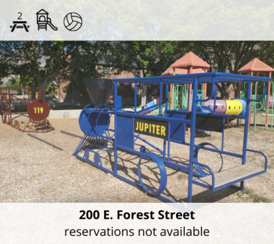 Dennis B. Vincent Memorial Park is located at 200 East Forest Street. It features two picnic tables, a playground designed for small children, and volleyball stands. Reservations are not taken. It is on a first come first served basis.