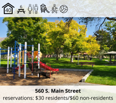 Horsley Park is located at 560 S. Main Street. It features a bowery with 40-person capacity, six picnic tables, restrooms, a playground, a walking path, and volleyball stands. The reservation fee is $30 for residents and $60 for non-residents.