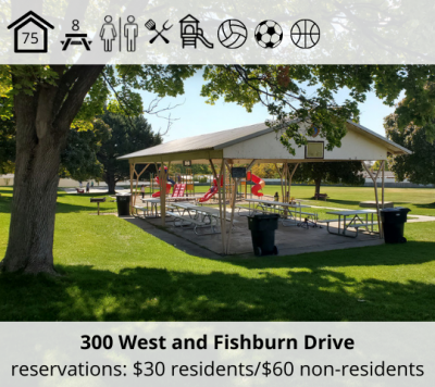 Lindsay Park is located at 300 West and Fishburn Drive. It features a bower with capacity for 75, eight picnic tables, restrooms, grill, playground, basketball court, volleyball stands, and soccer field. Reservation fee is $30 for residents and $60 for non-residents.