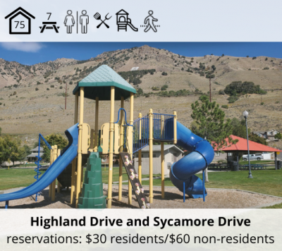Mary E. Christensen Park is located at Highland Drive and Sycamore Drive. It features a bowery with capacity for 75, seven picnic tables, restrooms, grill, playground and walking trail. Reservation fee is $30 for residents and $60 for non-residents.
