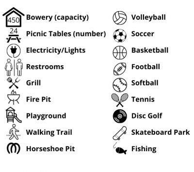 Legend of amenities at parks. The description of each park has a list of amenities available at that park.