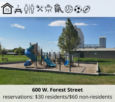 Watkins Park is located at 600 W. Forest Street. It features a bowery with capacity for 75, seven picnic tables, restrooms, grill, fire pit, playground, volleyball stands, soccer field, and football field. Reservation fee is $30 for residents and $60 for non-residents.