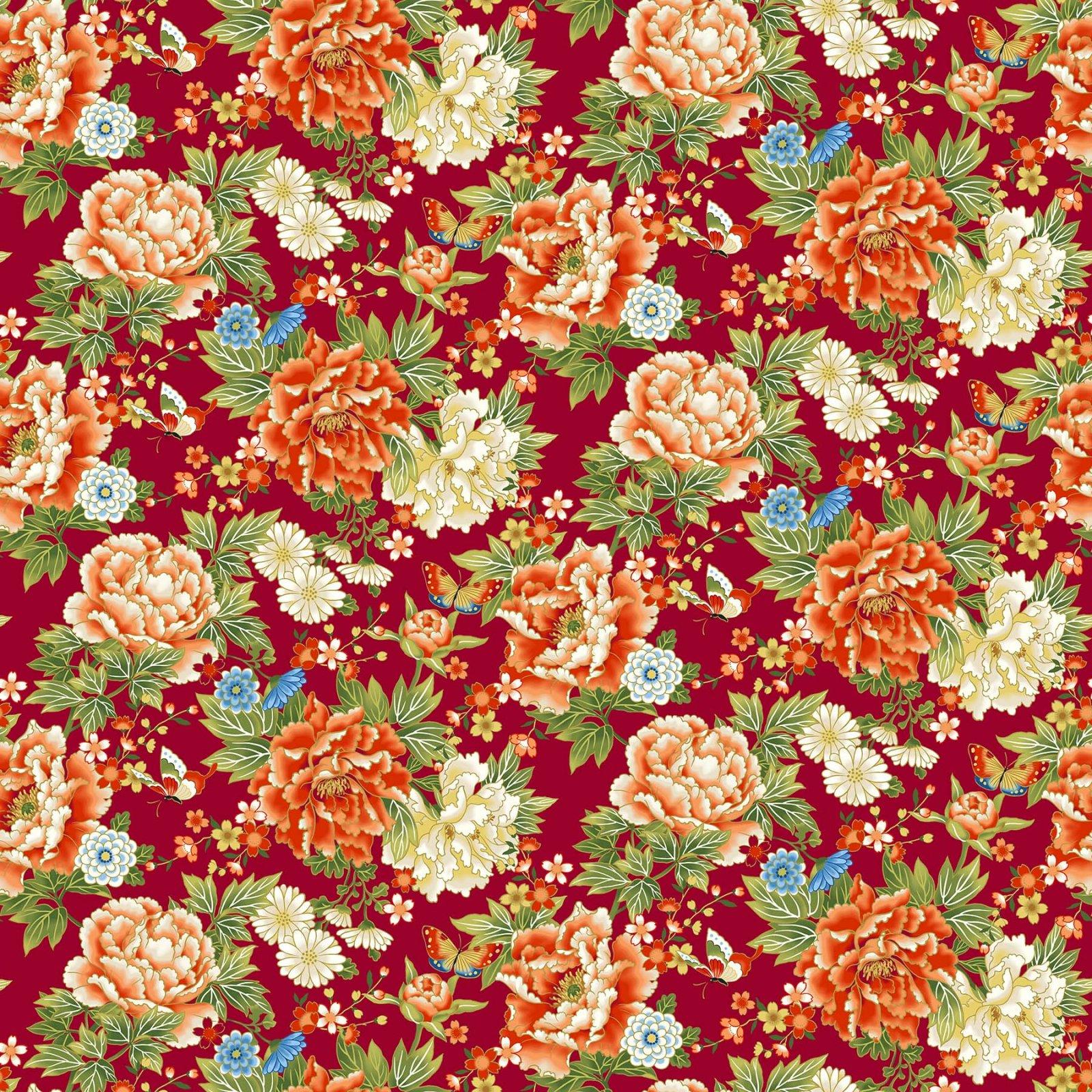 Northcott -Kyoto Garden23270M 24 Red MultiKyoto Floral