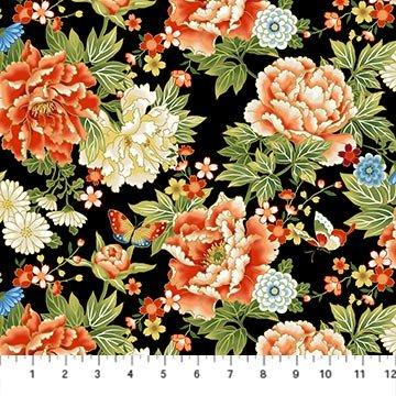 Northcott -Kyoto Garden 23270M 99 Black MultiKyoto Floral